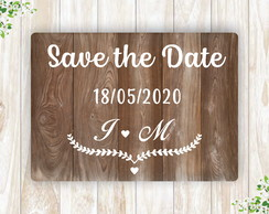Placa Rústica Save The Date Personalizada em mdf fotos