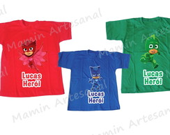 kit 3 Camisetas divertidas Pj Mask
