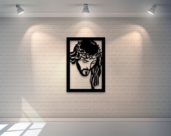 Quadro Decorativo Face de Cristo Mdf 6mm 65x45cm - Preto