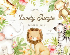Kit digital Lovely Jungle Watercolor Clip Art