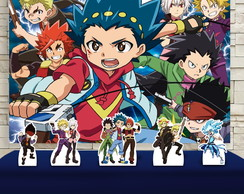 Kit Festa Prata Painel + Display Beyblade Burst