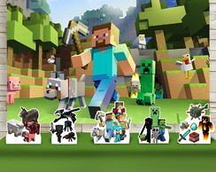 Kit Festa Prata Painel + Display Minecraft Island