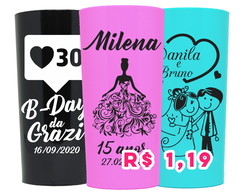 KIT 100 COPOS PERSONALIZADOS 320ML LONG DRINK FRENTE/VERSO