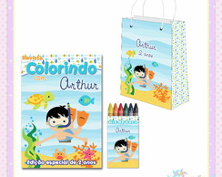 Kit Colorir com Sacolinha Fundo do Mar