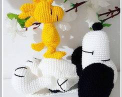 Kit Snoopy e Woodstock de amigurumi -crochê