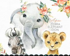 Kit Digital Animais elefante zebra e leão aquarela