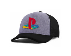Boné Playstation Logo Trucker Aba Curva Bordado