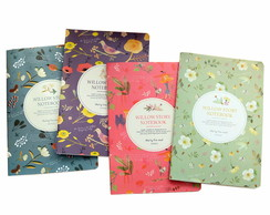 Lindo Caderno Costurado Willow estampas Florais