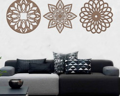 Kit Mandalas Decorativas Em Mdf 3mm 50x50 cm - MDF/CRU