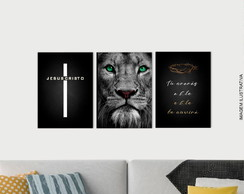 kit de 3 Quadros decorativos Sala Religioso