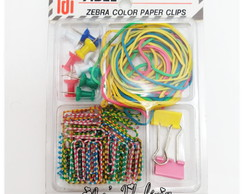 Kit Clips, Pinos e Elásticos Coloridos