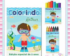 Kit Colorir com Massinha Fundo do Mar