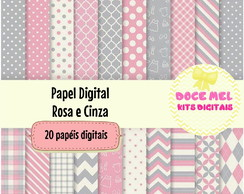 Papel Digital Rosa e Cinza