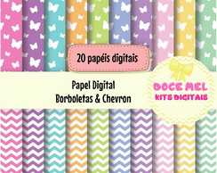 Papel Digital: Borboletas e Chevron
