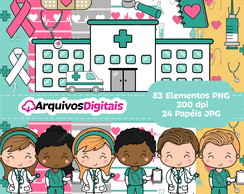 Kit Digital Médico / Medicina Saúde Scrapbook PNG