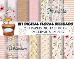 KIT DIGITAL FLORAL DELICADO (AQUARELA) DIA DAS MÃES