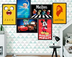 Trio Placas Decorativas 30x20 Mickey Carros Frozen Vinil Mdf