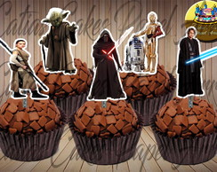 50 toppers tags para doces Star Wars