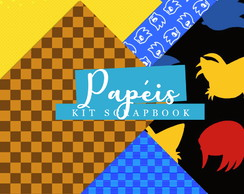 Kit Scrapbook: Papéis Sonic