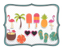 Apliques ou Tags 3cm Festa Tropical Flamingo e Abacaxi