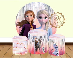 Kit arte digital painel Frozen II circular e 3 cilindros