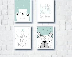 Quadros Escandinavo Infantil Ursos Be Happy e Be Brave