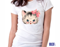 Camiseta Baby Look Gato Lacinho Cat Pet Animal