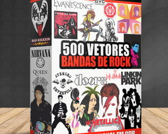 Kit Digital Vetores Bandas Rock Famosos