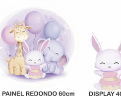PAINEL REDONDO BICHINHOS CUTE SAFARI CANDY COLORS