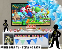 Painél de Festa p TV Super Mario -Festa no Rack - Digital