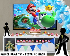 Painél de Festa p TV Super Mario B - Festa no Rack - Digital