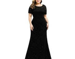 Vestido Plus Size Longo 50 Renda Civil Madrinha Preto