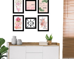 Kit 6 Quadros Placas Decorativas de MDF - Sala - Quarto
