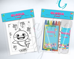 Kit Massinha + Giz + Bolha Baby Shark Personalizado