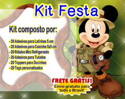 Kit Rótulos Festa Mickey Safari