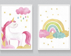 Kit de Quadros decorativos - Unicornio