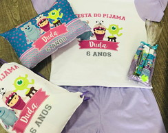 Kit festa do pijama monstros sa almofada kit dental mochila