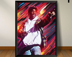 Quadro Decorativo Cantor Travis Scott Com Moldura
