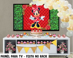 Painél para Tv Festa Minnie Mouse - Festa no Rack- DIGITAL