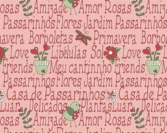 Tecido Patchwork Mini Garden Rosa RT328