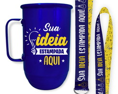Caneca Colorida Personalizada + Tirante 850ml