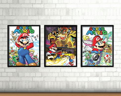 Kit 3 Quadros / Mario Bros