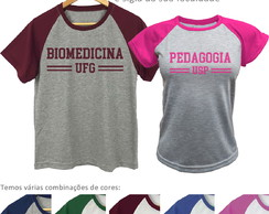 Kit 10 Camisetas Raglan Pv Universitária Uniforme Escolar