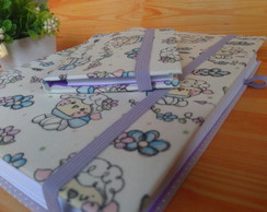 Caderno costurado com post-it