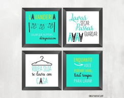 Kit com 4 Quadros Decorativos - Lavanderia