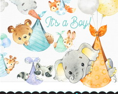 Kit Digital Animais Baby watercolor