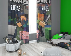Cortina Blecaute do Minecraft com Nome - 1,40m x 1,80m