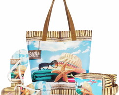 Kit Bolsa, Necessaire, Chinelo Feminino Praia B083-Magic