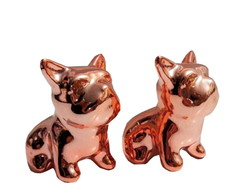Kit 2 Cachorrinho De Porcelana Enfeite Rose Gold