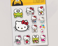 Cartela Adesiva Planner Caderno Scrapbook Hello Kitty REF132